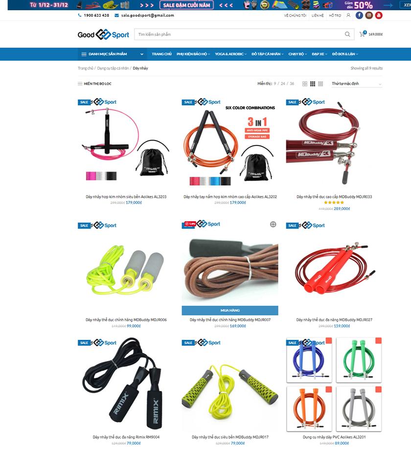 Dây nhảy tại website của 1 cửa hàng đồ thể thao chính hãng